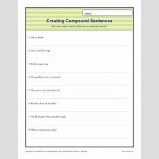 Compund Sentence Worksheet  1st Through 3rd Grade