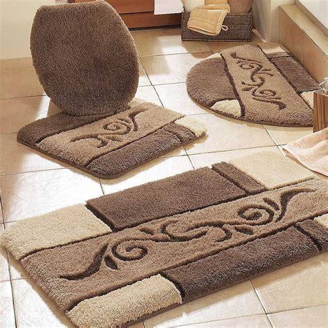 contemporary bathroom  brown bathroom rug sets