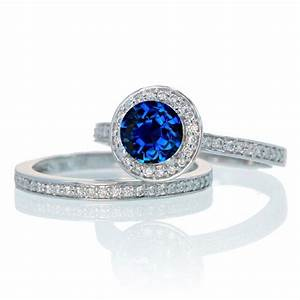 2 carat unique classic halo round sapphire and diamond With gemstone wedding ring sets