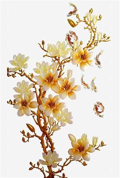 Flower Vector Golden Gold Flowers Clipart Interior