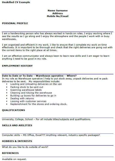Effective Cv Sles by Unskilled Cv Exle For Workers Icover Org Uk