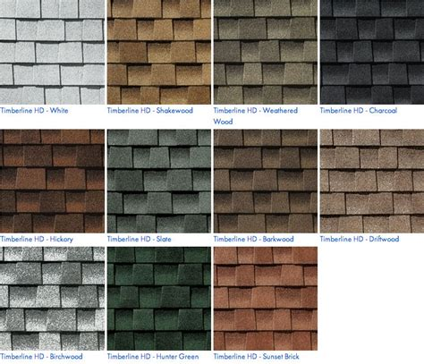 timberline shingles color chart we proudly install gaf residential roofing shingles