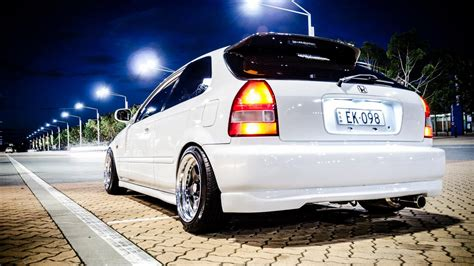 white cars honda civic street wallpaper