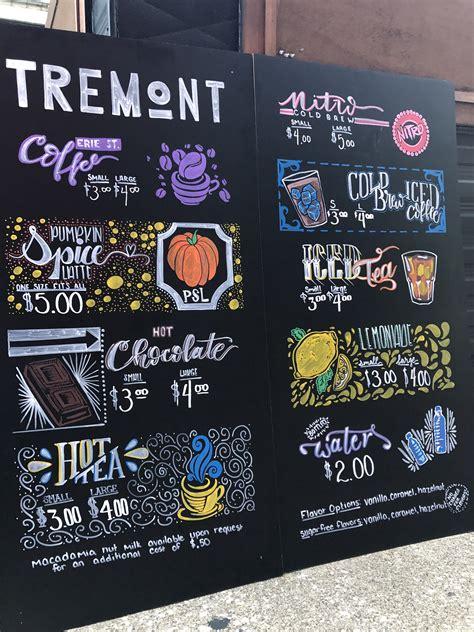 Stock popular — not all — milk alternatives. Tremont Coffee Company outdoor menu boards. Chalk paint. Hand lettered. | Chalk menu, Menu board ...