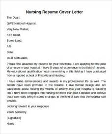 resume cover letters for nurses sle cover letter exles for 12 documents in pdf word