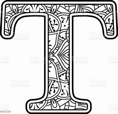 Letter Mandala Coloring Doodle Initial Therapy Alphabet