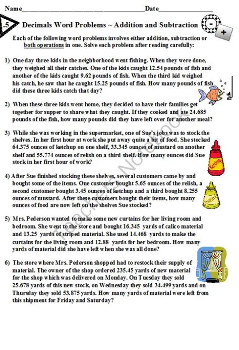 decimals word problems addition and subtraction from
