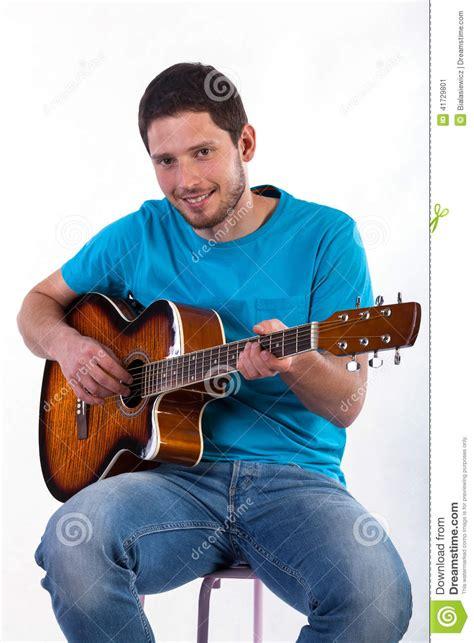 man  fun  playing  acoustic guitar stock image