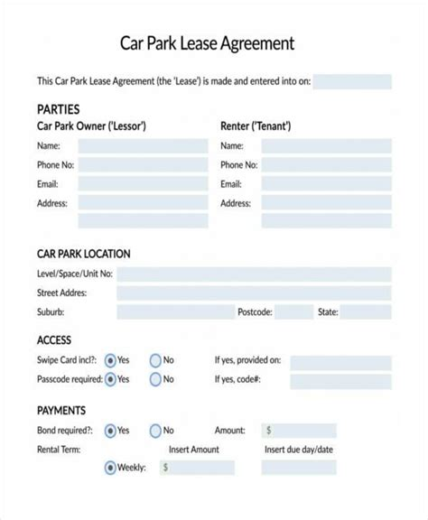 car lease agreement samples  ms word
