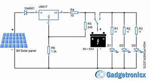 Solar Powered Led Light Circuit