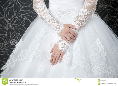 Lace White Wedding Dress With Long Sleeves Stock Image