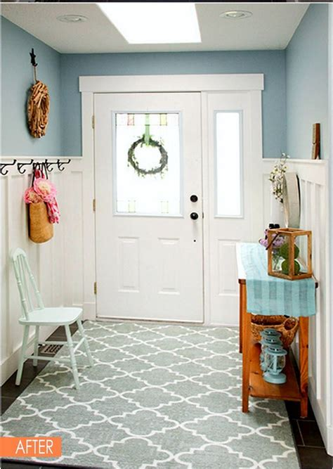 white wainscoting    small entryway  feel