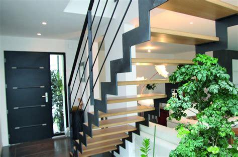 escalier droit m 233 tal et bois