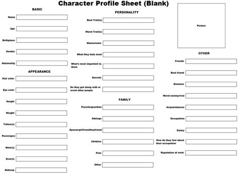character profile template pdf best 25 character profile ideas on character development sheet create your