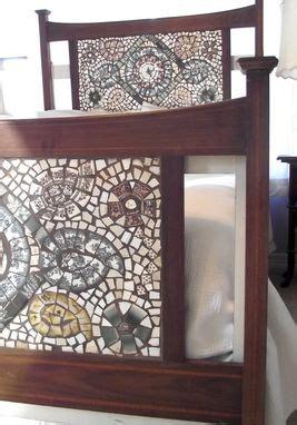 hand crafted broken china mosaic headboard  vintage