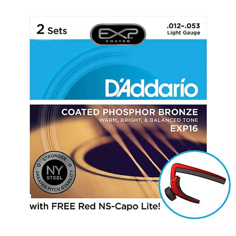 d addario exp16 2d acoustic guitar string 2 pack light