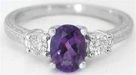 stone amethyst engagement ring  wedding band