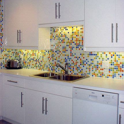 Small Kitchen Design In Yellow Blue Shades by Yellow Blue Orange Green And White Tile Kitchen