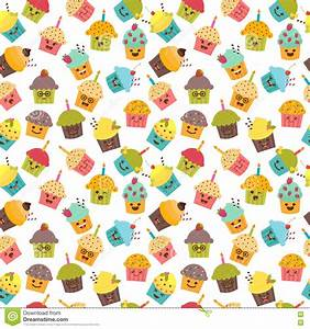 Birthday Background. Seamless Pattern With Cupcakes And ...