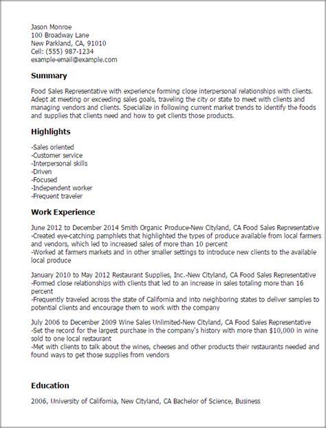 Top Resume Sles by Food Sales Representative Resume Template Best Design