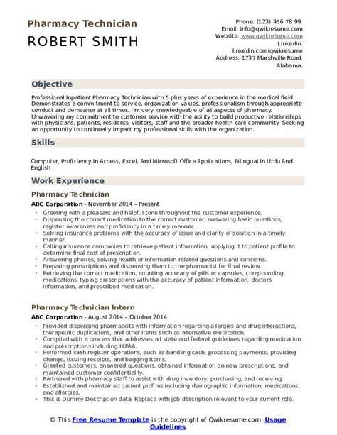 Pharmacy Technician Resume Skills by Pharmacy Technician Resume Sles Qwikresume