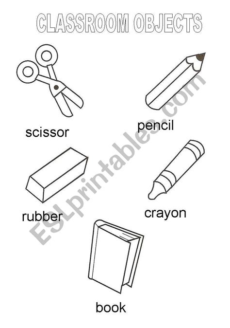 classroom objects vocabulary esl worksheet by marykate