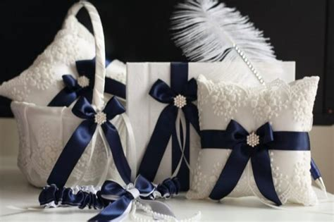 navy blue wedding basket bearer pillows guest book with pen bridal lace wedding