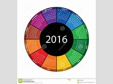 Colorful Round Calendar For 2016 Year Stock Vector