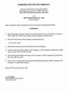 Printable Sample Certificate Of Incumbency Form