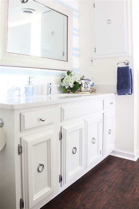 Vanity Guest List by Blue And White Bathroom Remodel On A Budget