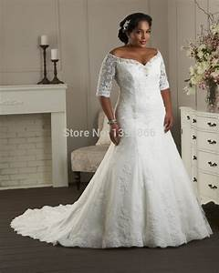 Free shipping vintage lace wedding gowns plus size 2015 for Plus wedding dress with sleeves