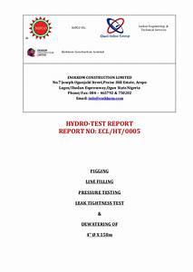 Hydrotest Report For 4 U0026 39  U0026 39  158m Line