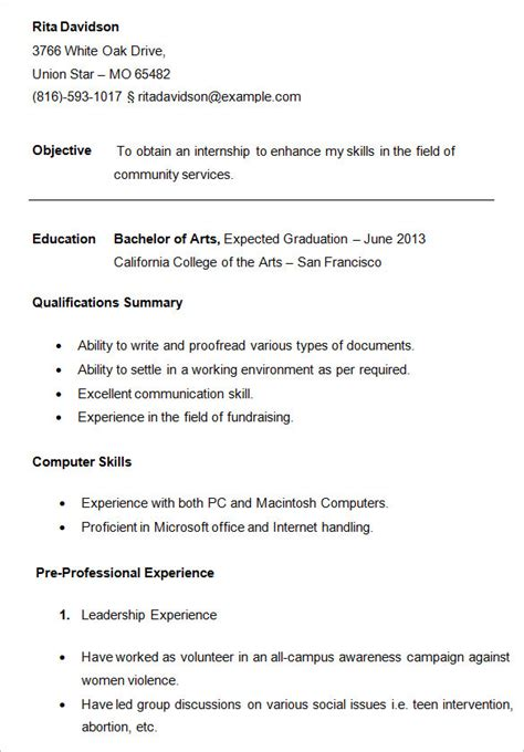 Basic Resume Exles For College Students by 10 College Resume Templates Free Sles Exles