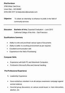 10 college resume template sample examples free for Free resume templates for college students