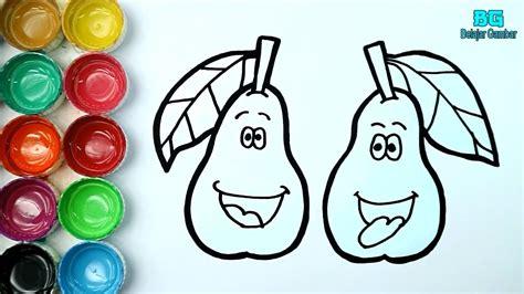 cara menggambar dan mewarnai buah alpukat lucu untuk anak