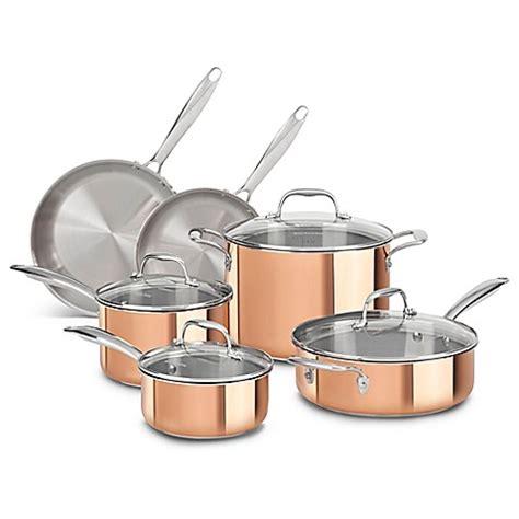 kitchenaid tri ply copper clad  piece cookware set bed bath