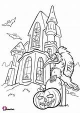 Coloring Pages Haunted Halloween Pumpkin Scary Bubakids sketch template
