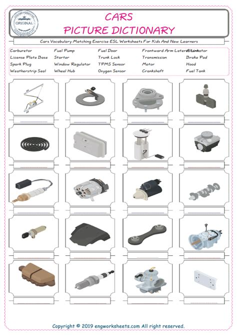 cars english worksheet  kids esl printable picture