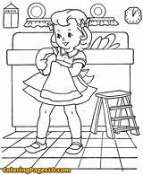 Coloring Dishes Pages Chores Washing Embroidery Patterns Wash Drawing Doing Children Books Printable Barbie Drawings Could Hand Stitch Retro Machine sketch template