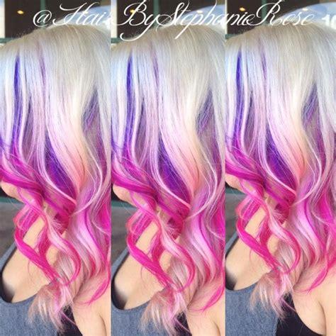 Purple To Pink Ombre Peekaboos On Blonde Hair Hair