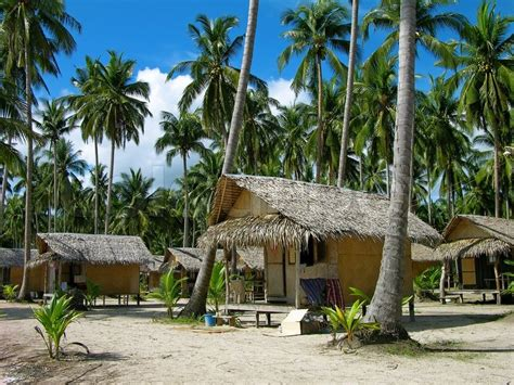 Tropical Beach With Bungalows And Palm Trees, Chang Island