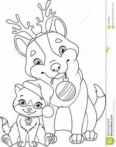Christmas Dog With Cat Coloring Page Stock Vector ...
