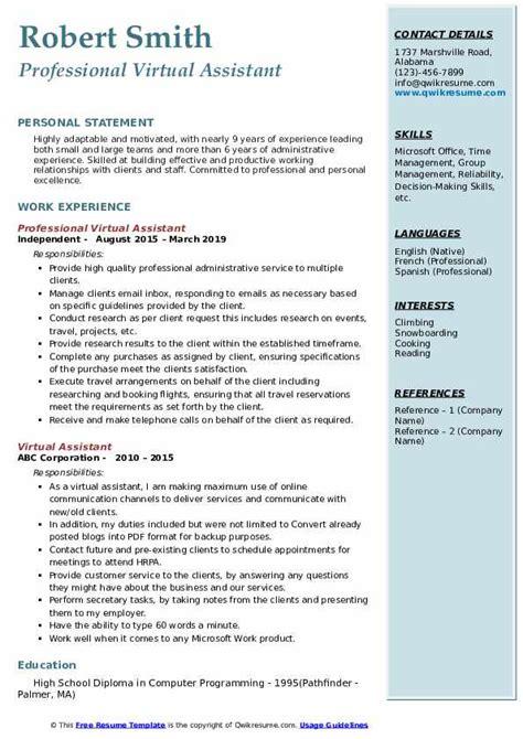 virtual assistant resume samples qwikresume
