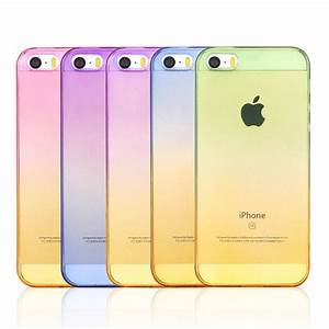 Transparent Gradual Change Colorful tpu Case Rubber Cover For aifon ifon case For Apple iphone 4