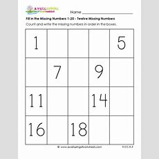 Fill In The Missing Number 120 These Six Worksheets Are Great For Helping Kids Count And Write