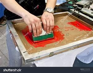 Manual Screen Printing Hand Printing Tshirts Stock Photo