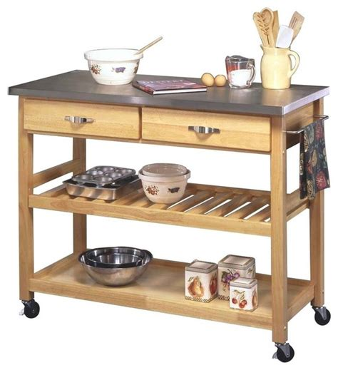 stainless steel  wood kitchen cart transitional