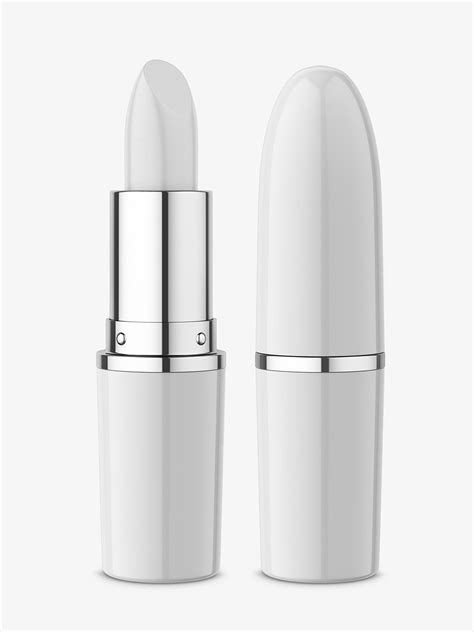 Vector realistic 3d white blank glossy closed and opened lip balm stick or hygienic lipstick set closeup isolated on mascara tube with packaging box mockup isolated on white background. Lipstick mockup - Smarty Mockups