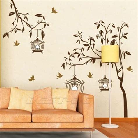 sticker autocollant mural arbre oiseaux déco mur maison