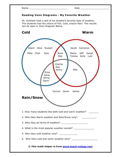 Venn Diagram Math Worksheets Worksheets For All  Download And Share Worksheets  Free On